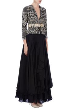 Black embroidered skirt set with black jacket features a belt