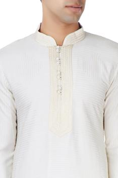 Off-white silk kurta