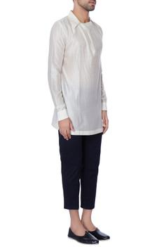 White collar chanderi shirt