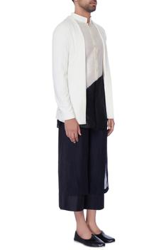 White front open chanderi jacket