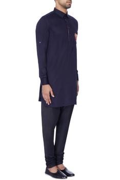Navy blue embroidered classic kurta