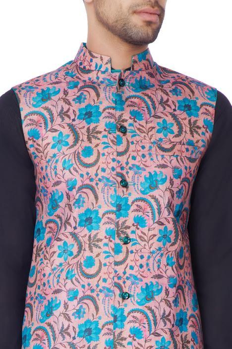 Multi-colored printed raw silk jacket.