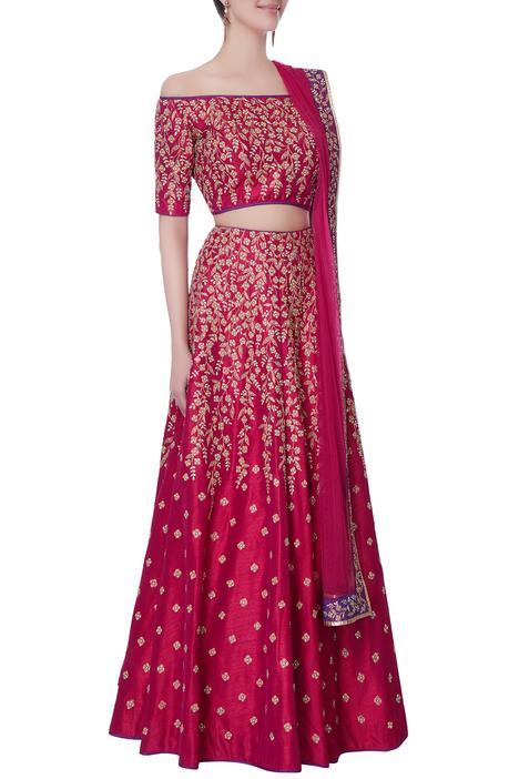 Pink off shoulder blouse with lehenga & dupatta