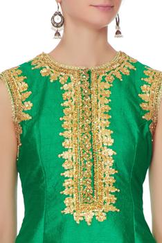 Green gota embroidered kurta set