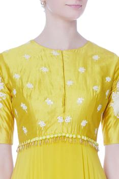 Yellow embroidered georgette anarkali
