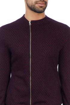 Wine cotton lycra dotted bomber jacket