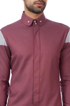 Red & grey cotton textured shirt