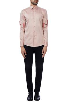 Peach cotton checked shirt