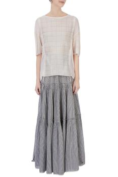 Light grey & ecru organic handwoven cotton striped & checked skirt and blouse