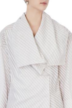 Ecru organic handwoven cotton trench jacket