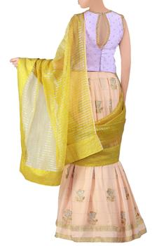Peach embroidered georgette lehenga saree set