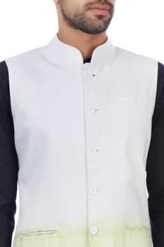 White and green modal cotton tie dye nehru jacket