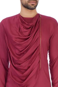Wine modal cotton draped kurta