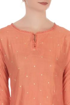 Peach & gold embroidered kurta with pants
