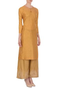 Yellow embroidered kurta with pants
