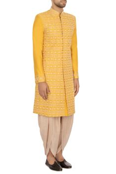 Yellow & beige raw silk embroidered sherwani