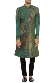 Aqua green cotton hand painted sherwani set
