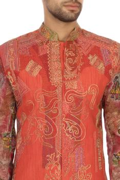 Pink cotton embroidered bandhgala sherwani set