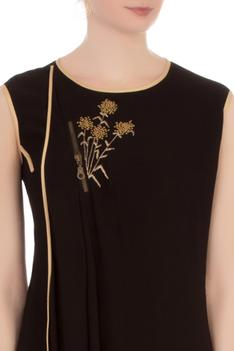 Black double georgette embroidered tunic