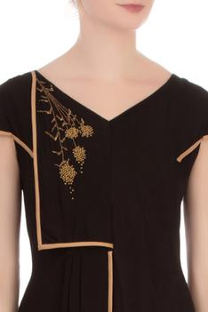 Black double georgette embellished tunic