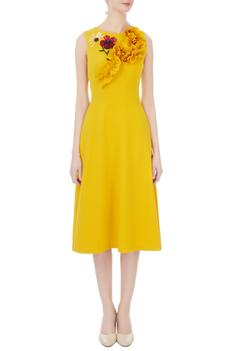 Yellow micro embroidered midi dress