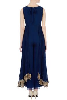 Blue jumpsuit with ruched outer layer