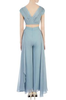 Grey georgette palazzo pants with crop top