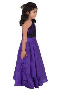 Purple silk embellished gown