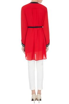 Red georgette high low tunic