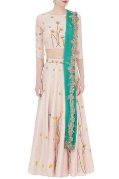 Powder pink thai silk embroidered blouse with skirt