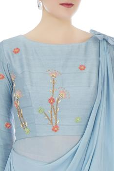 Powder blue & powder pink thai silk, chiffon & net tulle embroidered tunic with pants