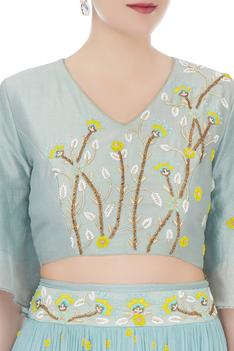 Powder blue chiffon & chanderi embroidered blouse with skirt