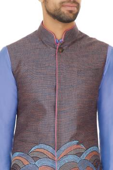Blue silk linen draped kurta with churidar & embroidered bundi