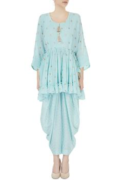 Blue ruffle layer zari embroidered short kurta with dhoti pants