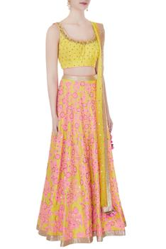 Yellow sequin embroidered sleeveless blouse with lehenga set