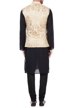Ivory poly-silk multi-design nehru jacket