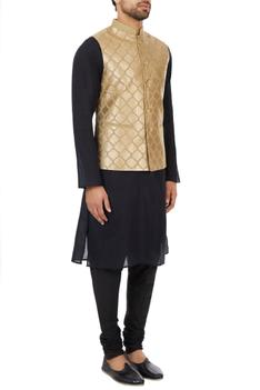 Beige poly-silk gota hand-embroidered nehru jacket