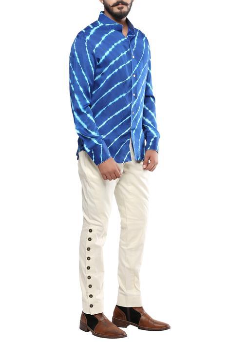 Blue silk leheriya shirt