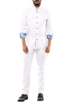 White button down shirt with printed sleeves