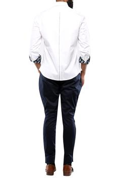 White cotton shirt with reverse printed detailing