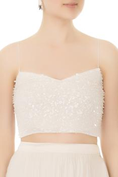 White hand-beaded crop top with chiffon & tulle skirt