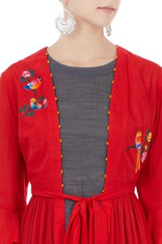 Red hand & machine embroidered bird motif jacket with grey tunic