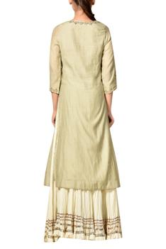 Mint green gota embroidered kurta with crinkled ivory skirt & dupatta