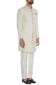 Off white silk embroidered sherwani with off white trousers & teal blue pocket square