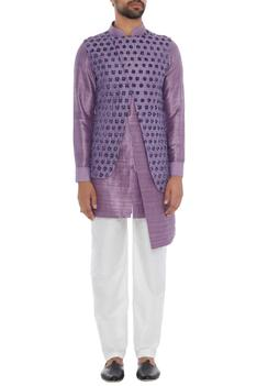 Purple raw silk kurta with attached waistcoat