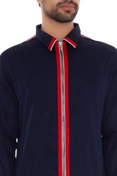 Navy blue cotton solid slim fit jacket shirt