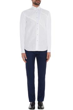 White linen cotton jersey printed slim fit shirt