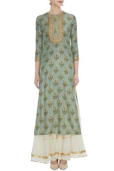 Green cotton silk zari sequin work kurta with off white chanderi sharara