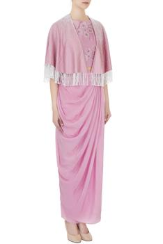 Ash pink crepe & silk chanderi floral applique work crop top with draped skirt & cape jacket