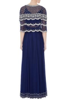 Navy blue embroidered net bolero with georgette blouse & net skirt